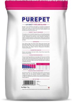 Purepet Tuna and Salmon 1.2 kg Dry Adult Cat Food the pet being