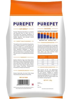 the pet being Purepet Adult Dry Cat Food, Mackerel